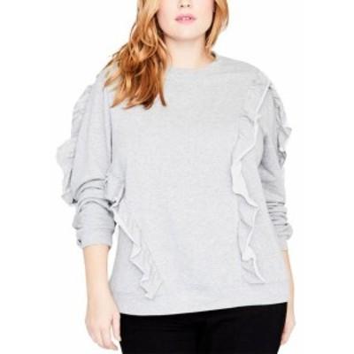 Rachel Roy レイチェルロイ ファッション トップス Rachel Rachel Roy NEW Gray Womens Size Medium M Ruffle Crew Sweater