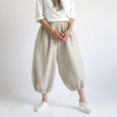 ■『裾ギャザーゆったり サーカス パンツ』84cm丈 上質リネン麻100% 股上深め ナチュラル F66