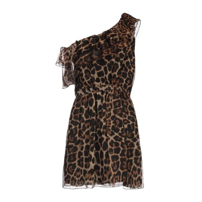 SAINT LAURENT ミニワンピース&ドレス ブラウン 36 シルク 100% ミニワンピース&ドレス