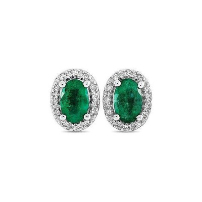 レディース アクセサリー  14K 0.10 ct. tw. Diamond & Emerald Earring