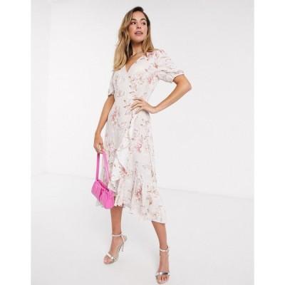 フォーエバーニュー ミディドレス レディース Forever New wrap tie midi dress in ivory floral print エイソス ASOS