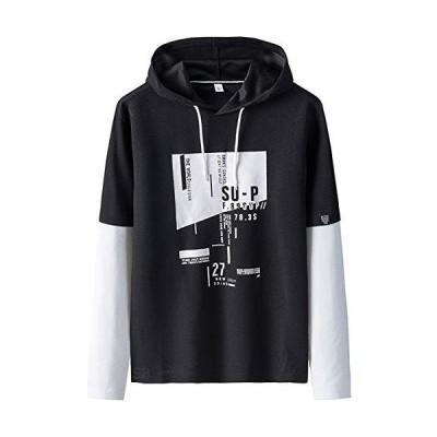 [サン ブローゼ] 2バージョン 長袖 フード付き カジュアル カットソー 上着 メンズ ブラック XL
