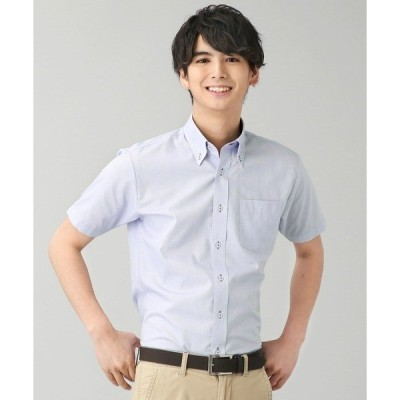 シャツ ブラウス 【Disney ディズニー】形態安定ノーアイロン ボタンダウン 半袖ビジネスシャツ