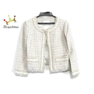 エムプルミエ M-PREMIER ジャケット サイズ36 S レディース 美品 - 白×ベージュ 長袖/ラメ/秋 新着 20200425