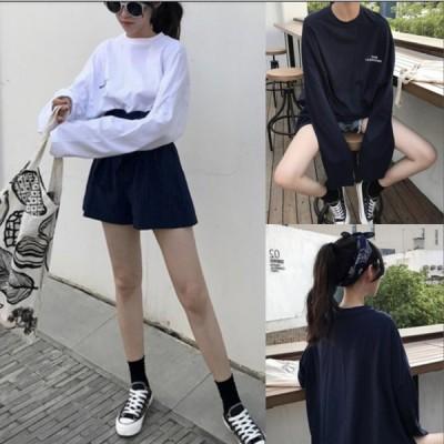 オーバーサイズ ロングスリーブ カジュアル ストリート クルーネック ロング Tシャツ ゆったり リラックス 白 黒 TP-021MM