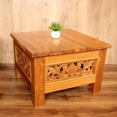 受注生産品 チーク 彫刻入り ローテーブル アンティークウォッシュナチュラル サイドテーブル ソファテーブル カービング 納期約4ヶ月