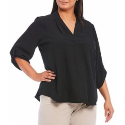 カルバンクライン レディース シャツ トップス Plus Size Pleated V-Neck Long Roll-Tab Sleeve Crepe de Chine Top Black