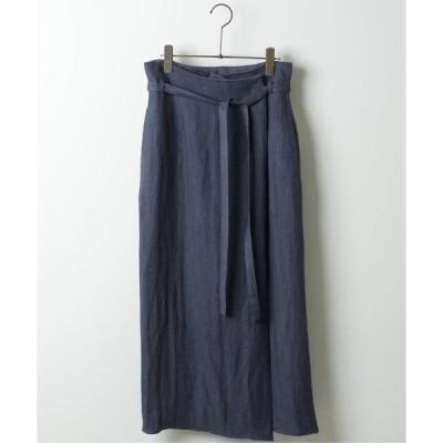 スカート リネンヘリンボンラップ風スカート
