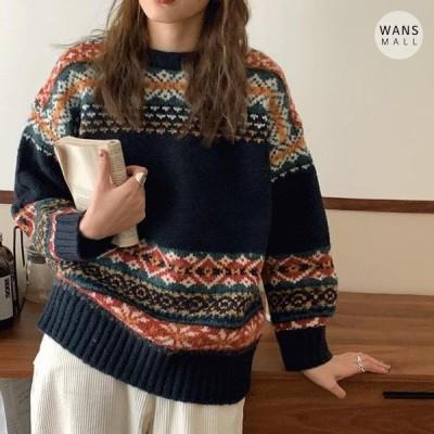 Wansmall レディース ニット/セーター kn3449 Wish Nordic Pattern Knit