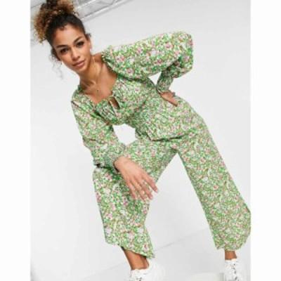 エイソス ASOS DESIGN レディース オールインワン ジャンプスーツ shirred waist square neck jumpsuit in green floral グリーンフロー