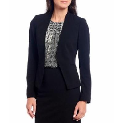カルバンクライン レディース ジャケット・ブルゾン アウター Petite Size Scuba Crepe Long Sleeve Open Front Jacket Black