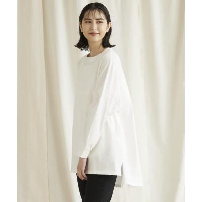 【リップスター】 バックスリットチュニックロングTシャツ レディース オフホワイト M LIPSTAR