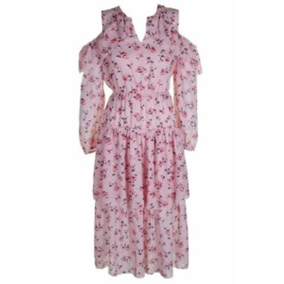 Maison  ファッション ドレス Maison Jules Pink Schulter Blumenmuster Volant Midi Kleid XS