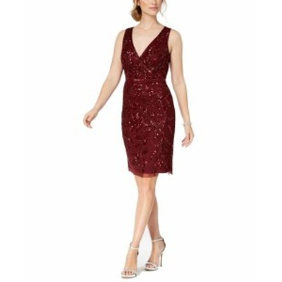 Adrianna Papell アドリアーナ パペル ファッション ドレス Adrianna Papell Womens Dress Red Size 8 Sheath Beaded V-Neck Sequin