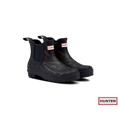 HUNTER - 女鞋-印花切爾西霧面踝靴