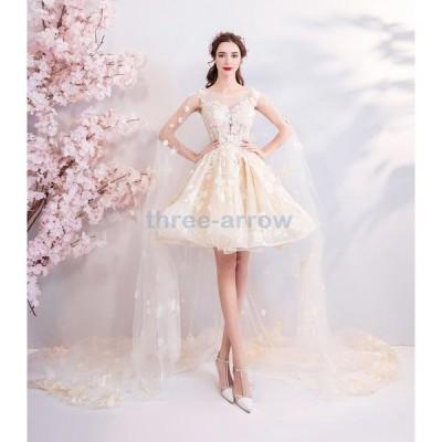 ウエディングドレス フィッシュテールドレス トレーンタイプ パーティドレス レディース お色直し 花嫁ドレス 披露宴 発表会ドレス 結婚式 演奏会 カラードレス
