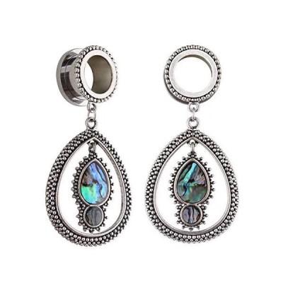 YIDULA Ear Gauges Dangle Plugs Tunnels for Ears Fashion Opal Alloy Pendant