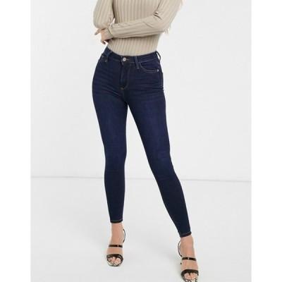 リバーアイランド レディース デニムパンツ ボトムス River Island high rise skinny jeans in dark wash blue