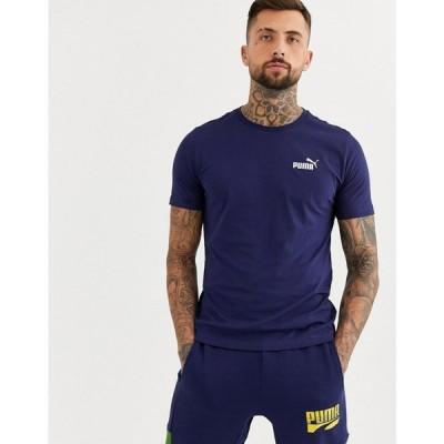 プーマ Puma メンズ Tシャツ トップス Essentials t-shirt with small logo in navy ネイビー