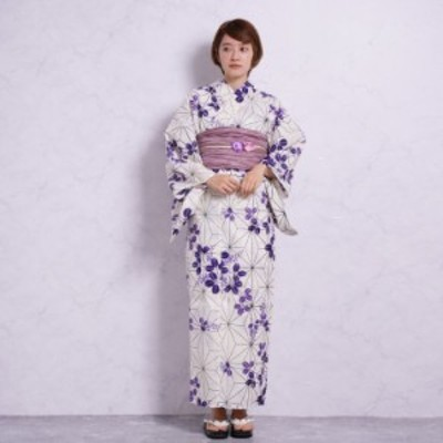 浴衣 3点 セット (浴衣/帯/下駄)ラベンダー パープル 紫 白 きなり 浴衣セット ゆかた 女性 レディース レトロ 大正ロマン
