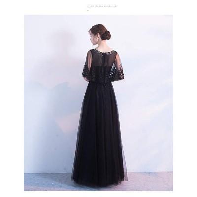 レディーズ パーティードレス ロングドレス ブラック 演奏会用ドレス 発表会 イブニングドレス ワンピース フォーマルドレス 小さい 着痩せ