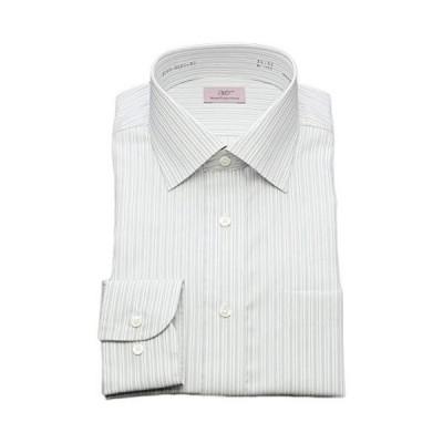 [ミツワトミヤコレクション] ワイシャツ 形態安定 長袖 スリム 綿100 ワイドカラー グレー 3001-W2-40-82