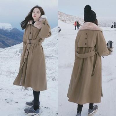 ロングコート レディース 冬 ボアコート 韓国 ファッション レディース ウエストベルト コート ベルト付き ロングコート ベージュ コート