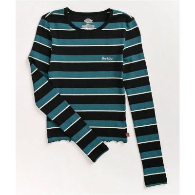 ディッキーズ DICKIES レディース ベアトップ・チューブトップ・クロップド トップス deep sky stripe crop long sleeve top Blue
