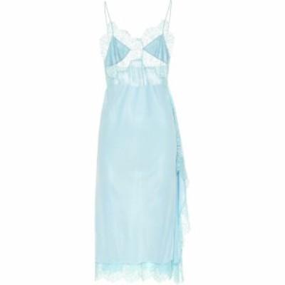 ステラ マッカートニー Stella McCartney レディース ワンピース ワンピース・ドレス Lace-trimmed satin dress LIGHT TURQUOISE