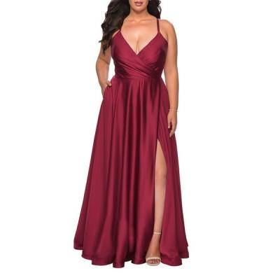 ラフェム レディース ワンピース トップス Plus Size Satin A-Line Gown with Lace-Up Back