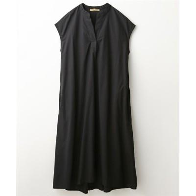 綿100%バックオープンデザインVネックロングシャツワンピース (ワンピース)Dress