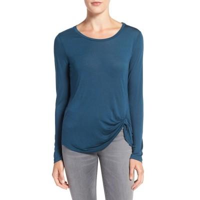 カップケーキアンドカシミア レディース Tシャツ トップス 'Blakely' Long Sleeve Knit Top TEAL