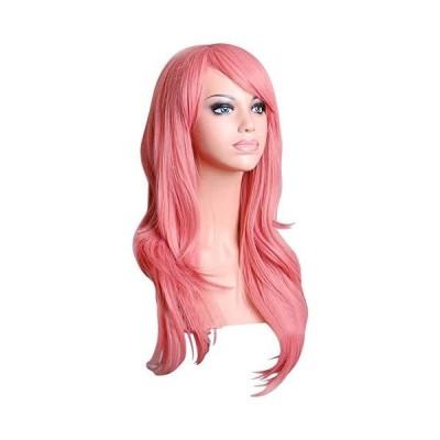 """(新品) 28"""" Women's Hair Wig New Fashion Woman's Long Big Wavy Hair Heat Resistant Wig for Cosplay Party Costume(pink)"""