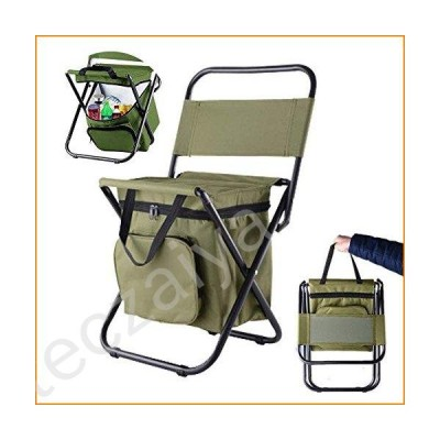 Folding Camping Chair with Cooler Insulated Bag Portable Waterproof Backpacking Fishing Stool Hiking Seat Camping Gear for Outdoor Indoor Picnic Trave