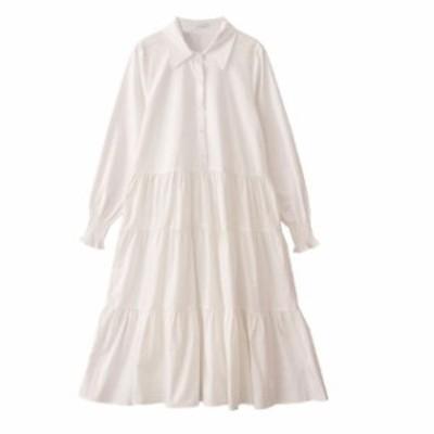 ティアードワンピース 韓国 ファッション レディース シャツワンピース シャツワンピ ロング フレア リボン 長袖 ゆったり 無地 ボリュー