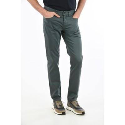 ERMENEGILDO ZEGNA/エルメネジルド ゼニア Green メンズ ZZEGNA Stretch Cotton Slim Fit Pants with Belt Loops 18 cm dk