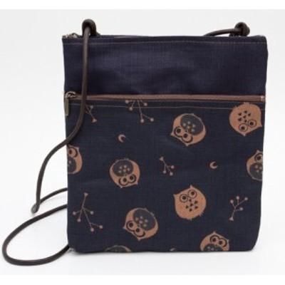 藍渋染 2Pポシェット ふくろう/リバティー  バッグ  和柄  日本製     財布