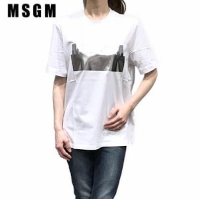 【2020春夏新作】 エムエスジーエム/MSGM レディース  Tシャツ 2841MDM180 207298 (ホワイト/01) 半袖/クルーネック