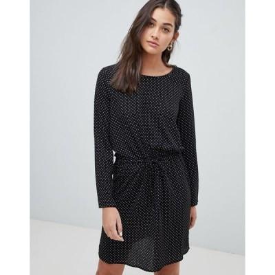 オンリー レディース ワンピース トップス Only printed drawstring waist mini dress in black Black w dots