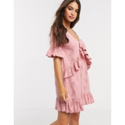 エイソス レディース ワンピース トップス ASOS DESIGN broderie v frill front smock mini dress in rose Rose