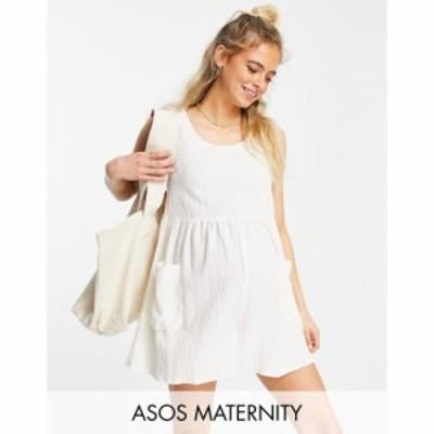 エイソス ASOS Maternity レディース オールインワン ASOS DESIGN maternity smock sleeveless textured playsuit with pockets in cream