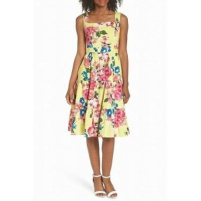 Eliza J エリザジェイ ファッション ドレス Eliza J Womens Yellow Size 12 Floral Print Square Neck A-Line Dress