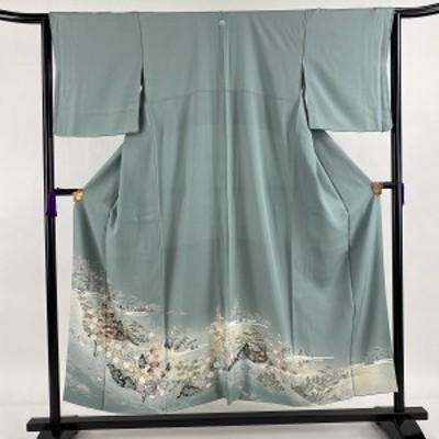 色留袖 美品 秀品 一つ紋 松竹梅 建物 灰緑 袷 身丈152cm 裄丈63cm S 正絹 中古