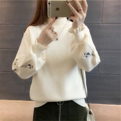 レディース トップス 秋冬 刺繍入りセーター