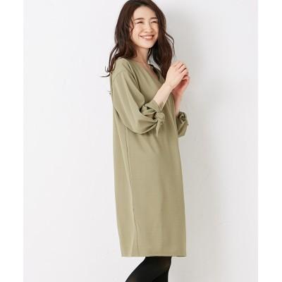 【Green Parks(グリーンパークス)】・RAY ジョーゼットポンチ袖リボンワンピース (ワンピース)Dress
