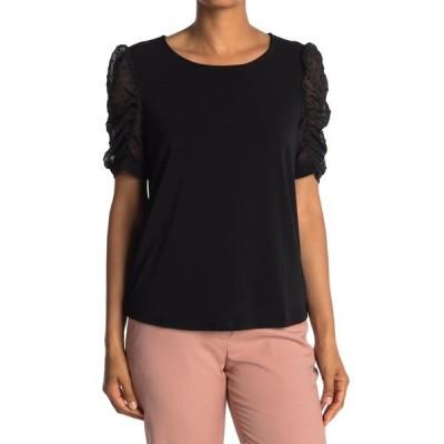 アドリアナ パペル レディース Tシャツ トップス Short Clip Dot Puff Crepe Sleeve Moss Shirt BLACK