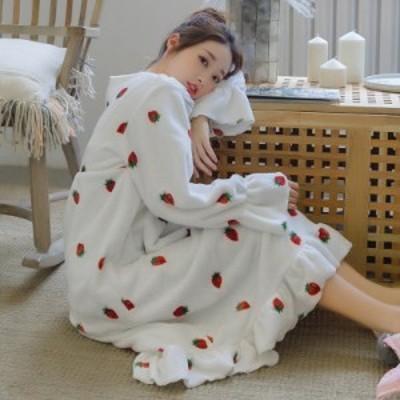 レディース パジャマ ルームウェア ネグリジェ ワンピース ガウン 部屋着 マキシ丈 寝巻き 防寒