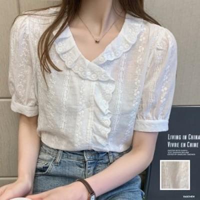 韓国 ファッション レディース トップス ブラウス シャツ 夏 春 カジュアル naloI556  刺繍 シアー パフスリーブ フリル フェミニン シン