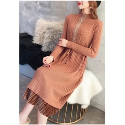 二段重ねスカート風ニットワンピース(ブラウン)ひざ丈 カワイイ 韓国ファッション ひざ丈