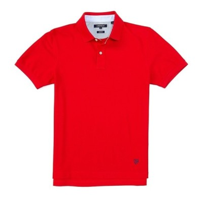 クレミュ メンズ ポロシャツ トップス Soho Slim-Fit Solid Pique Short-Sleeve Polo Shirt Red